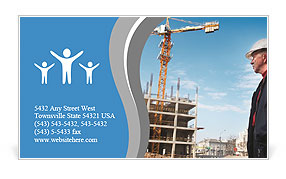Building inspector monitors the construction of the building Business Card Templates
