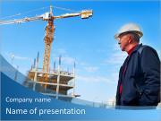 Inspector de edifício monitora a construção do edifício Modelos de apresentações PowerPoint