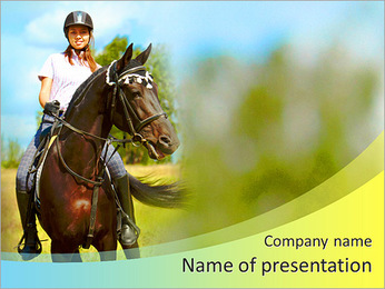 Beautiful rider rides a horse PowerPoint Template