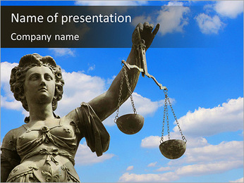 Woman balance of Law and Justice PowerPoint Template