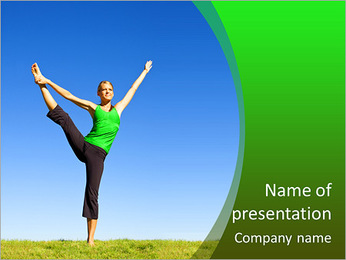 Beautiful girl shows stretching legs PowerPoint Template