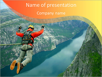 Man jumping with a parachute PowerPoint Template