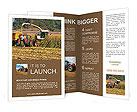 Combine harvests corn Brochure Templates