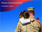 Girl hanging on the shoulder of the military PowerPoint Templates
