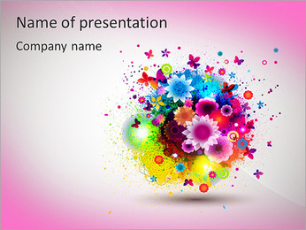 Multicolored flowers PowerPoint Template