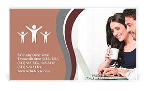 The modern couple looking at laptop Business Card Template