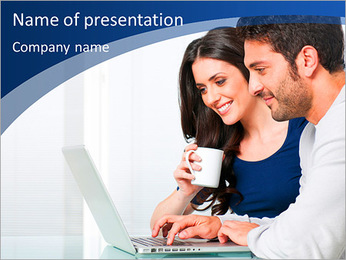 The modern couple looking at laptop PowerPoint Template