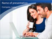 The modern couple looking at laptop PowerPoint Templates