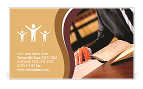 The lawyer has been studying the books Business Card Template