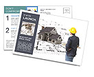 Builder sees the model of the future home Postcard Template