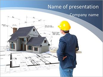 Builder vê o modelo da futura casa Modelos de apresentações PowerPoint