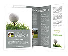Golf ball on the green grass Brochure Templates