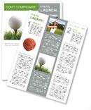 Golf ball on the green grass Newsletter Template