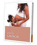 Daughter kissing belly of his pregnant mother Presentation Folder