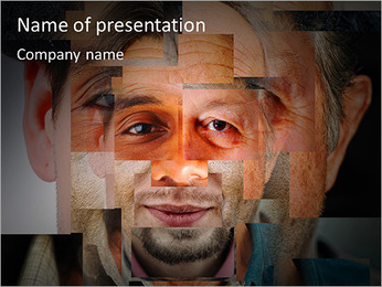 Male face of different pieces PowerPoint Template