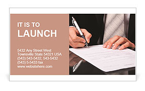 Businessman signs a document Business Card Templates