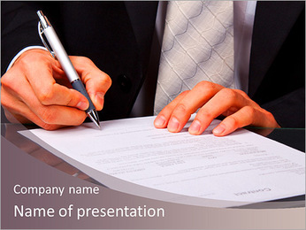 Businessman signs a document PowerPoint Template