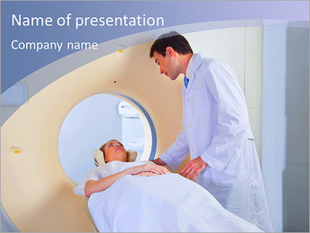 Dr. accompanies the patient to scan PowerPoint Template