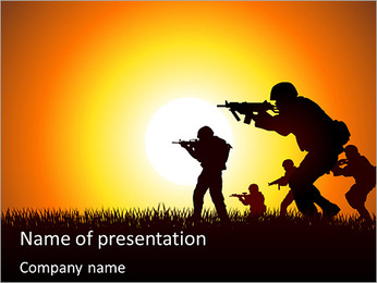 A group of soldiers aiming at sunset PowerPoint Template