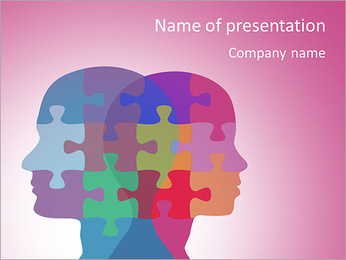 A man and a woman in the puzzle profiles PowerPoint Template