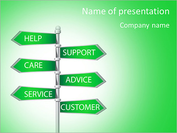 Other inscriptions on the green signs PowerPoint Template