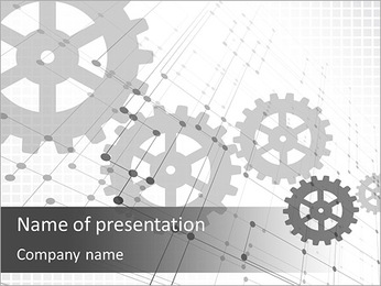 Gray gears PowerPoint Template