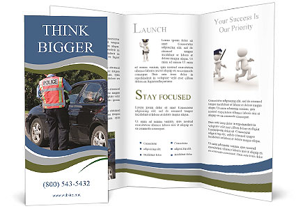 a police officer stands near a car brochure template
