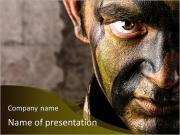 Ein Soldat schaut PowerPoint-Vorlagen