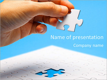 A piece of the puzzle in hand PowerPoint Template