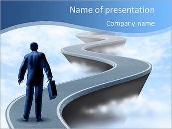 Businessman climbs up the mountain the hard way PowerPoint Template