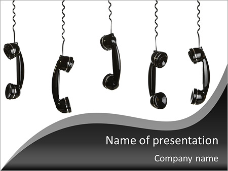 Old Fashioned Telephone Handset Powerpoint Template Backgrounds