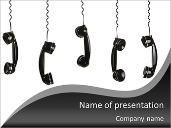 Old-fashioned telephone handset PowerPoint Template