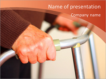 Old man holding his walker PowerPoint Template