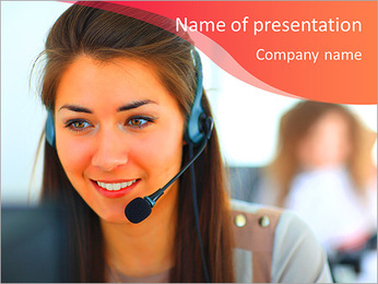 Beautiful girl smiling, working in a support service PowerPoint Template