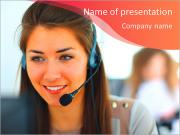 Beautiful girl smiling, working in a support service PowerPoint Templates