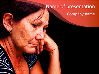 Portrait of a sad old woman PowerPoint Template