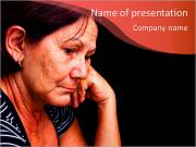 Portrait of a sad old woman PowerPoint Templates