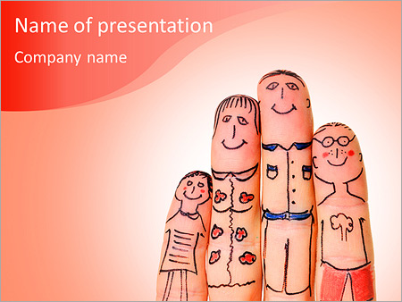 Fingers With Funny Pictures Of Family PowerPoint Template