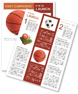 basketball ball on a white background newsletter template design