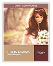 Charming bride looks at the bouquet Word Templates