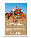 Rider overcomes obstacles on the horse Ad Template