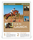 Rider overcomes obstacles on the horse Flyer Templates
