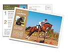 Rider overcomes obstacles on the horse Postcard Templates