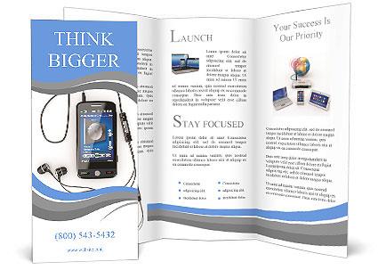 Mobile Phone Plays Music Brochure Template Design Id 0000008651