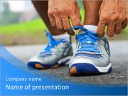 Tying shoe n the street PowerPoint Templates