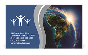 Planet Earth at Night Business Card Templates