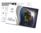Planet Earth at Night Postcard Template