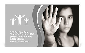 A young girl on a black white picture Business Card Template
