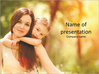 Mom and baby are very beautiful and touching PowerPoint Template