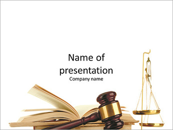 Symbols law Hammer book and a cup of equilibrium PowerPoint Template
